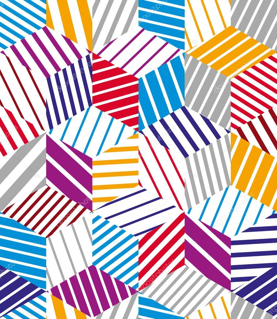 3d cubes seamless pattern, geometric vector background.