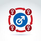 blaue männliche und rote weibliche Zeichen mit Pfeilen verbunden, Geschlechtssymbole