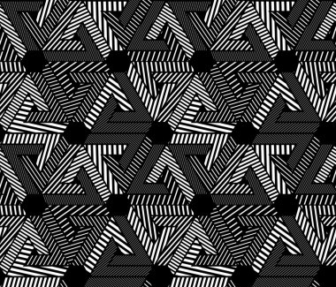Geometric black and white seamless pattern, endless striped vect