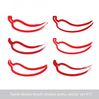 Set of hand-painted simple vector red hot chili pepper icons iso