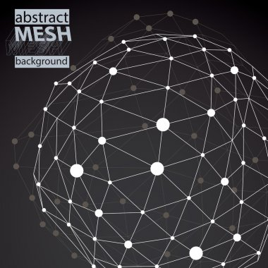 Black and white background with distorted 3D abstract spherical