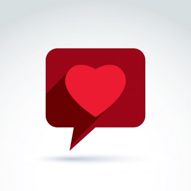 Family consultation symbol, speech bubble with love sign, valent