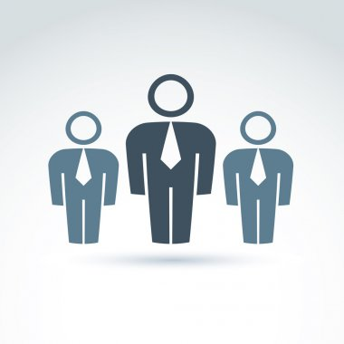 Vector illustration of silhouettes of people standing in front -