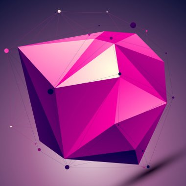 Purple asymmetric 3D abstract object with lines and dots placed