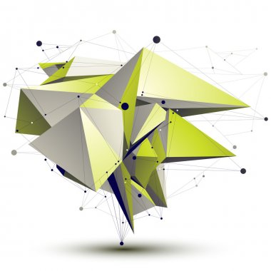 3D vector abstract design object, polygonal complicated light gr
