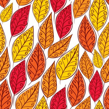 Autumn leaves seamless pattern, floral vector seamless backgroun