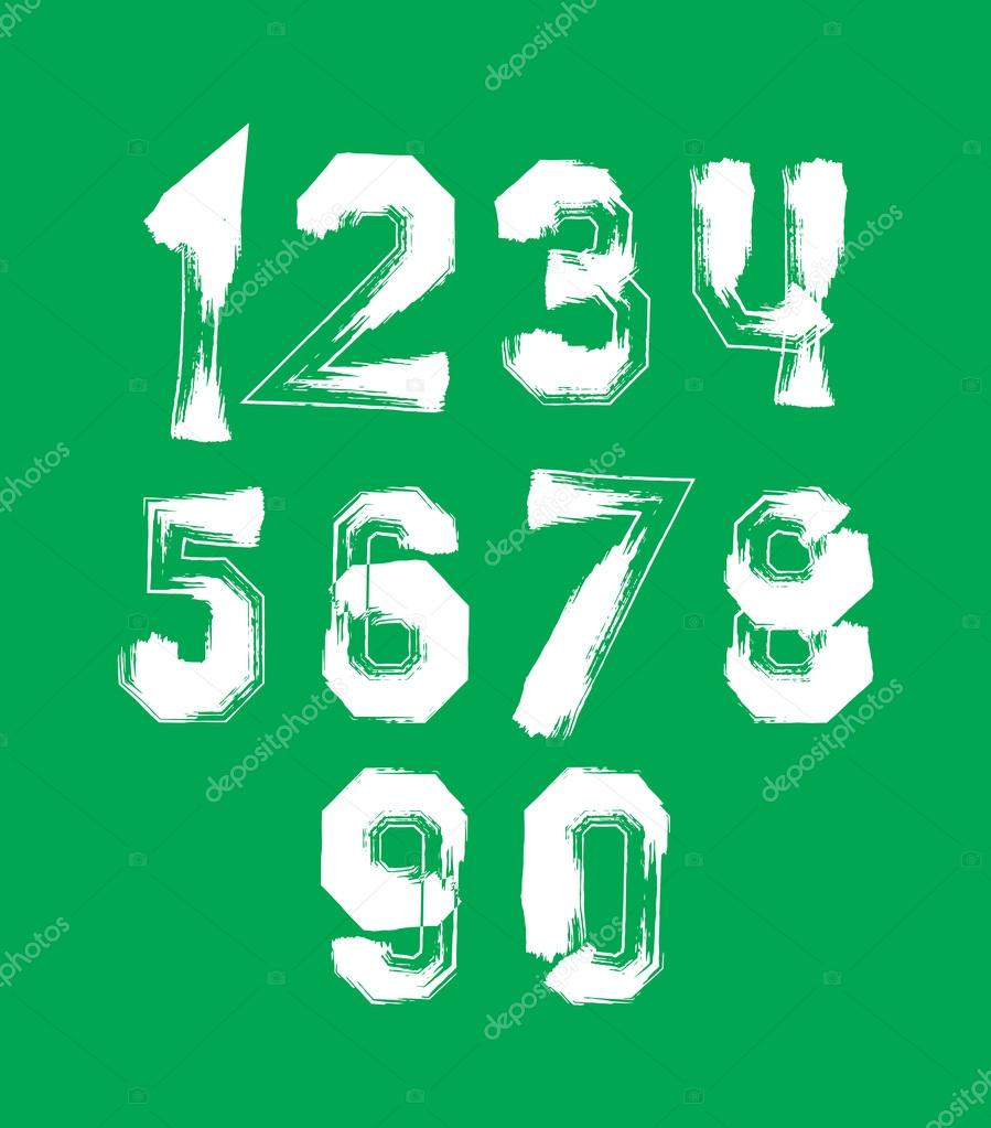 Creative handwritten over color numbers set from 0 to 10, vector ...