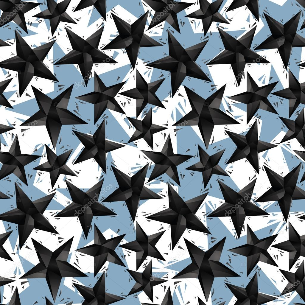 Black stars seamless pattern, geometric contemporary style repea