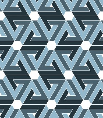Rhythmic pastel textured endless pattern with hexagons, grayscal