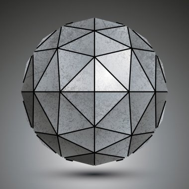 Grayscale galvanized 3d sphere created with triangles, grunge ab