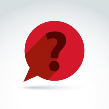 FAQ, ask and answer theme, interrogation. Vector red speech bubb