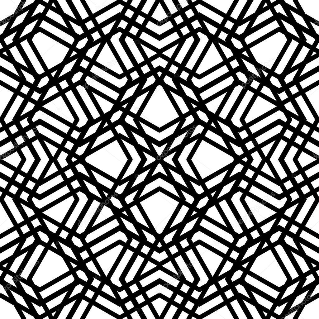 Yaratıcı sürekli siyah beyaz karışıklık desen, Labirent motifi abs — Stok Vektör