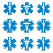 Fotografie Notfall-Ambulanz-Medizin-Symbole-Satz