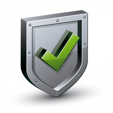 Security shield with yes tick symbol.