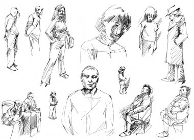 People sketches, hand drawn.