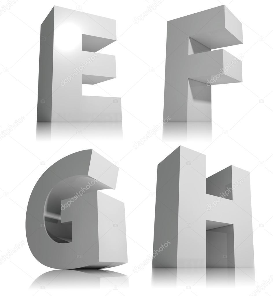 gro e 3d buchstaben isoliert auf wei em hintergrund schriftart alphabet buchstaben e f g h. Black Bedroom Furniture Sets. Home Design Ideas
