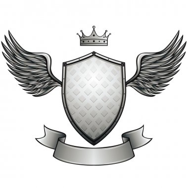 Winged shield with blank ribbon.