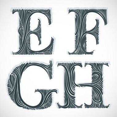 Vintage letters E F G H.