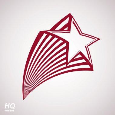 Vector celestial object, pentagonal comet star illustration. Gra