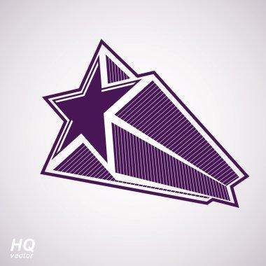 Astronomy conceptual illustration, pentagonal comet star - celes