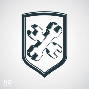 Repair 3d conceptual vector icon, heraldic workshop and technica