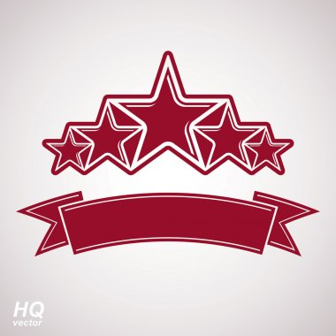 Vector monarch symbol. Festive graphic emblem with five pentagon