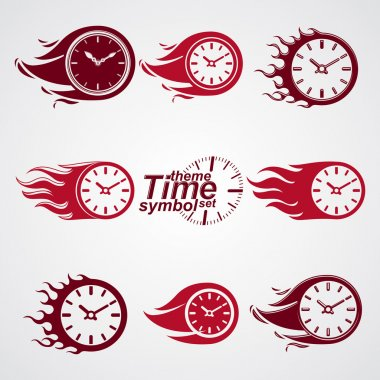 Time is running out concept, vector timers with burning flame. E