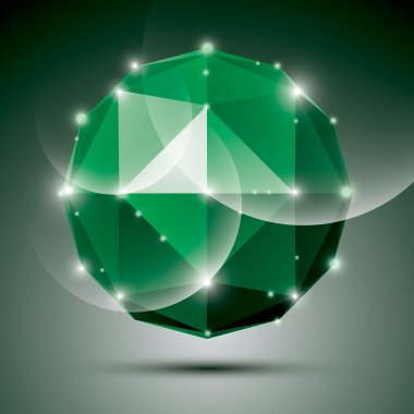 Abstract 3D emerald festive sphere with sparkles, green glossy d