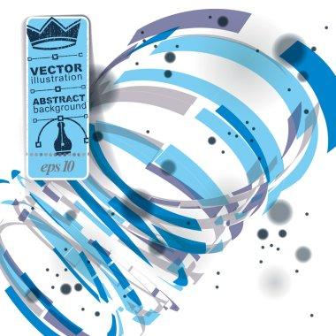 Vector blur abstract 3D complicated op art spiral backdrop, eps1