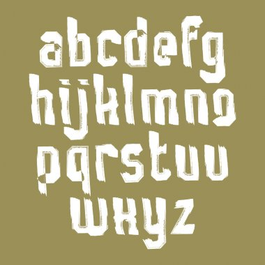 White handwritten lowercase letters, vector doodle brush typescr