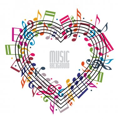 Heart made with musical notes and clef.