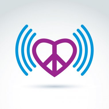 Vector loving heart icon with peace symbol from 60th. Podcast si