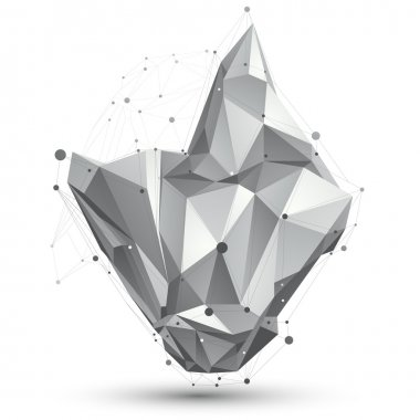 3D vector abstract design object, polygonal complicated figure w