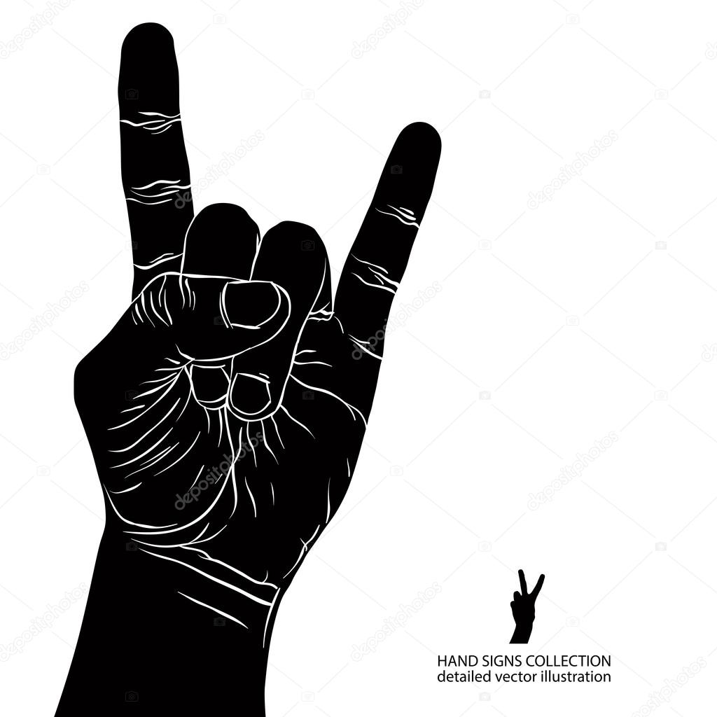 rock on hand sign rock n roll hard rock heavy metal music d