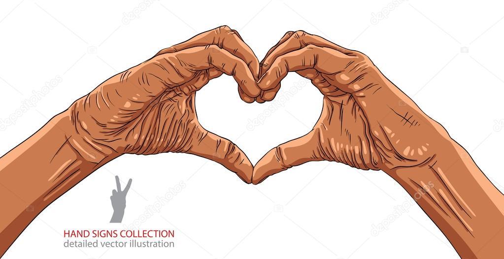 Manos En Forma De Corazón Grupo étnico Africano Dibujo Vectorial