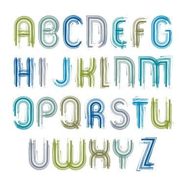 Vector striped acrylic font, handwritten watercolor capital lett