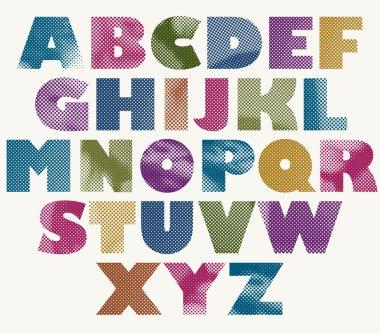 Halftone dots bold font.