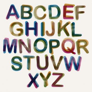 Halftone dots font.