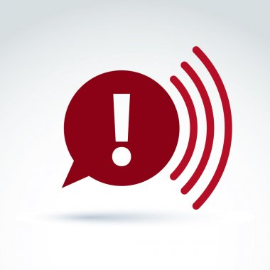 Red speech bubble with exclamation mark, vector broadcast icon.