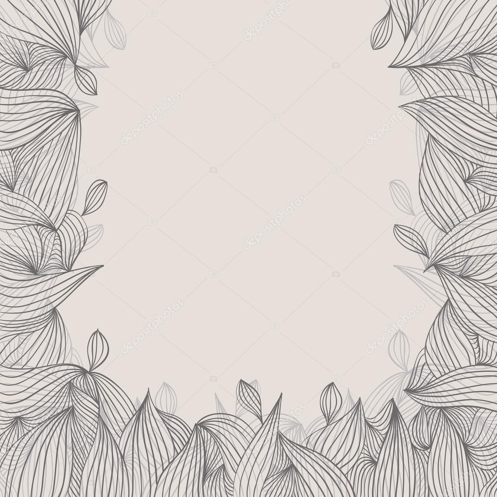 Floral elegante dibujado a mano encuadre con rizos sobre fondo ...
