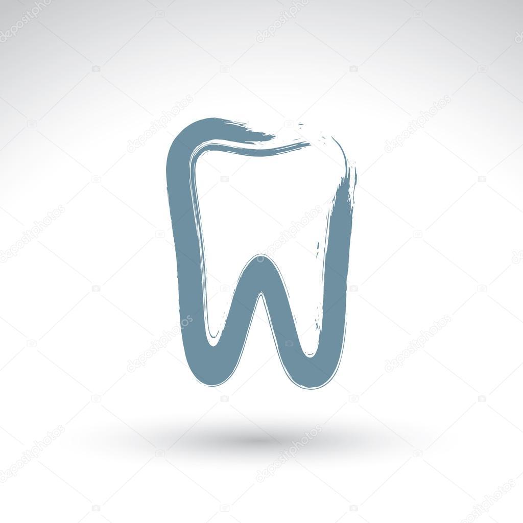Ikona Ruky Nakreslene Jednoduchy Zub Realne Barvy Stetcem Vykres
