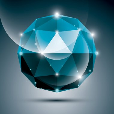 Abstract 3D cobalt shiny sphere with sparkles, sapphire glossy o