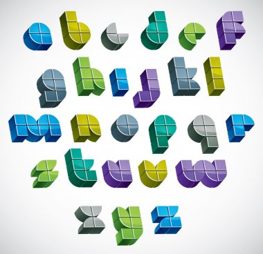 3d colorful letters futuristic alphabet made with blocks.