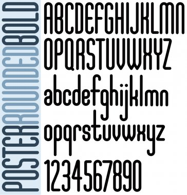 Rounded black font and numbers on white background, bold poster letters.