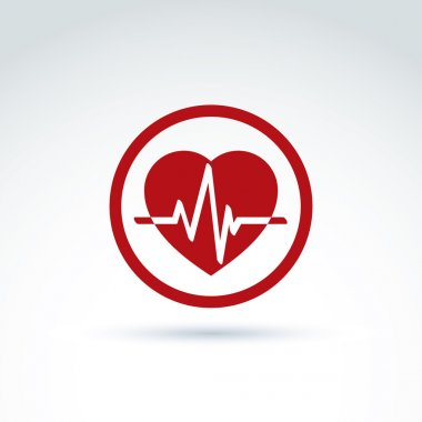 Vector illustration of a red heart symbol with an ecg placed in