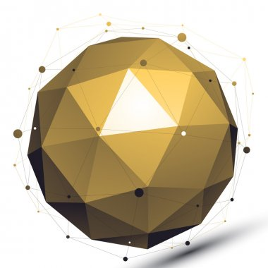 Gold abstract technological 3D vector network object, art spheri