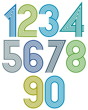 Bright cartoon striped rounded numbers with outline.