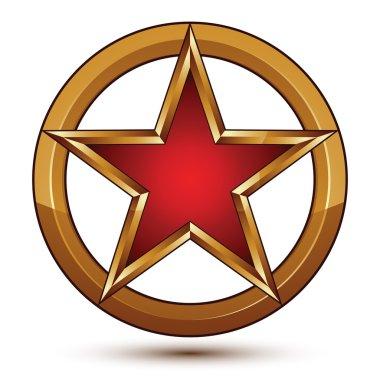 Refined vector red star emblem with golden borders, 3d pentagona
