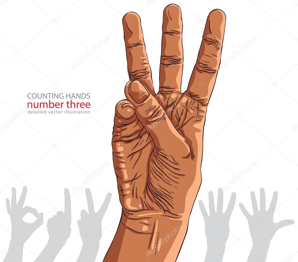 Zahlen übergeben Zeichen Satz, Nummer drei, Afrikaner, detaile ...