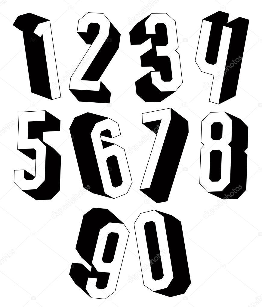 3d Schwarz Weiß Geometrische Zahlen Stockvektor Ostapius 58969071